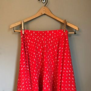 Printed Red Skirt